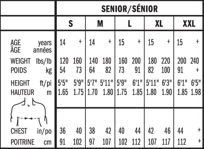 Bauer Senior Hockey Shoulder Pad Sizing, Bauer Senior Hockey Shoulder Pad Size Chart