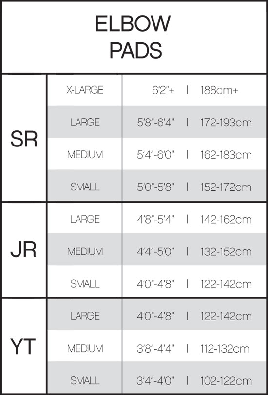CCM Hockey Elbow Pad Sizing Chart, CCM Elbow Pads