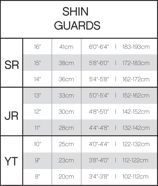 CCM Hockey Shin Guard Sizing Chart, CCM Shin Guard