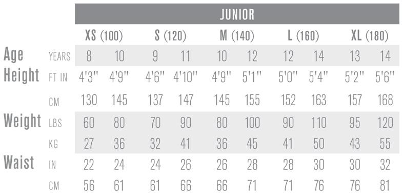 Easton Junior Ice Hockey Pant Sizing