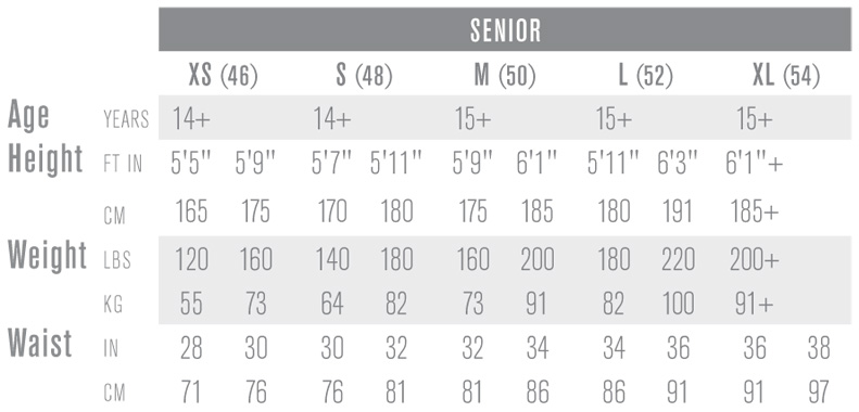 Easton Senior Ice Hockey Pant Sizing